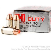 20 Rounds of 220gr JHP FTX .45 ACP +P Critcal Duty Ammo by Hornady