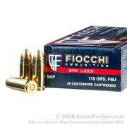 50 Rounds of 115gr FMJ 9mm Ammo by Fiocchi