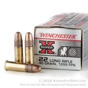 500  Rounds of 40gr Copper Plated Round Nose .22 LR Ammo by Winchester Super-X