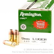 100 Rounds of 115gr JHP 9mm Ammo by Remington