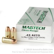 50 Rounds of 230gr FEB .45 ACP Ammo by Magtech CleanRange