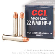 50 Rounds of 30gr JHP .22 WMR Ammo by CCI