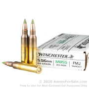 20 Rounds of 62gr FMJ M855 5.56x45 Ammo by Winchester