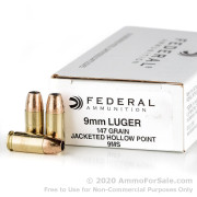 50 Rounds of 147gr JHP 9mm Ammo by Federal