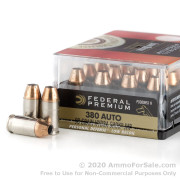 20 Rounds of 90gr JHP .380 ACP Ammo by Federal