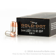 1000 Rounds of 115gr JHP 9mm Ammo by Speer