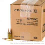 1000 Rounds of 55gr FMJBT .223 Ammo by Federal