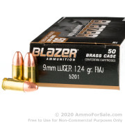 50 Rounds of 124gr FMJ 9mm Ammo by Blazer