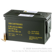 1000 Rounds of 62gr FMJBT M855 5.56x45 Ammo in Ammo Can by Prvi Partizan