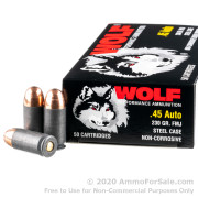 500  Rounds of 230gr FMJ .45 ACP Ammo by Wolf