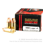 20 Rounds of 100gr HoneyBadger 9mm +P Ammo by Black Hills Ammunition