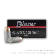 50 Rounds of 230gr TMJ .45 ACP Ammo by CCI
