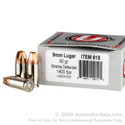20 Rounds of 90gr Xtreme Defender 9mm Ammo by Underwood