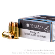 20 Rounds of 230gr JHP .45 ACP Ammo by Federal