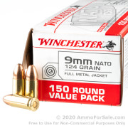 150 Rounds of 124gr FMJ 9mm NATO Ammo by Winchester