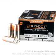 20 Rounds of 115gr JHP 9mm Ammo by Speer