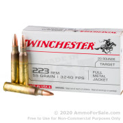20 Rounds of 55gr FMJ .223 Ammo by Winchester