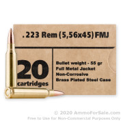 500 Rounds of 55gr FMJ .223 Ammo by Barnaul **STEEL CASES**