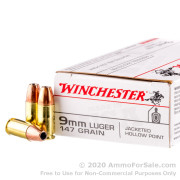 50 Rounds of 147gr JHP 9mm Ammo by Winchester