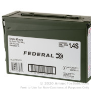 5.56x45 Rounds of 55gr FMJ 5.56x45 Ammo in Ammo Can by Federal
