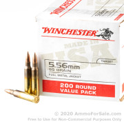 200 Rounds of 55gr FMJ M193 5.56x45 Ammo by Winchester
