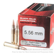 50 Rounds of 50gr TSX 5.56x45 Ammo by Black Hills Ammunition