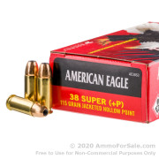 50 Rounds of 115gr JHP .38 Super Ammo by Federal American Eagle