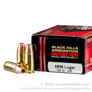 20 Rounds of 124gr JHP 9mm Ammo by Black Hills Ammunition