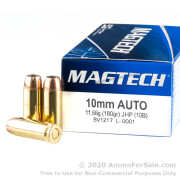 50 Rounds of 180gr JHP 10mm Ammo by Magtech