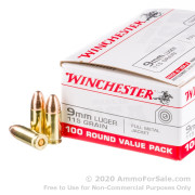 100 Rounds of 115gr FMJ 9mm Ammo by Winchester