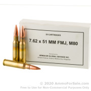 20 Rounds of 147gr FMJ M80 7.62x51 Ammo by Armscor