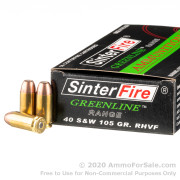 50 Rounds of 105gr Frangible .40 S&W Ammo by Sinterfire