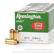 100 Rounds of 180gr JHP .40 S&W Ammo by Remington