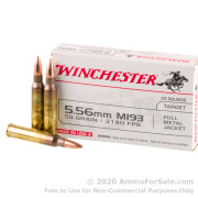 20 Rounds of 55gr FMJ M193 5.56x45 Ammo by Winchester