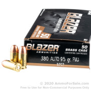 50 Rounds of 95gr FMJ .380 ACP Ammo by Blazer