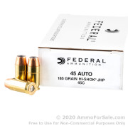 50 Rounds of 185gr JHP .45 ACP Ammo by Federal