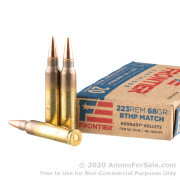 20 Rounds of 68gr BTHP Match .223 Ammo by Hornady