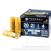 """25 Rounds of 2-3/4"""" 3/4 ounce #4 shot 20ga Ammo by Federal Speed-Shok"""