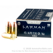 1000 Rounds of 230gr TMJ .45 ACP Ammo by Speer