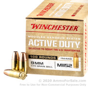 100 Rounds of 115gr FMJ M1152 9mm Ammo by Winchester