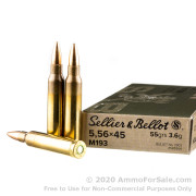 1000 Rounds of 55gr FMJ M193 5.56x45 Ammo by Sellier & Bellot