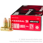 50 Rounds of 124gr FMJ 9mm Ammo by Federal