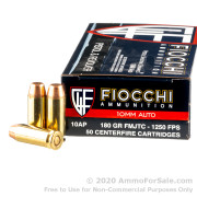 50 Rounds of 180gr FMJTC 10mm Ammo by Fiocchi