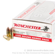 200 Rounds of 115gr FMJ 9mm Ammo by Winchester