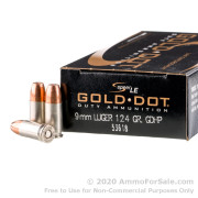 1000 Rounds of 124gr JHP 9mm Ammo by Speer