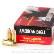 50 Rounds of 115gr FMJ 9mm Ammo by Federal American Eagle