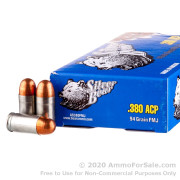 50 Rounds of 94gr FMJ .380 ACP Ammo by Silver Bear