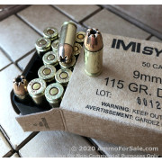 50 Rounds of 115gr Di-Cut JHP 9mm Ammo by IMI