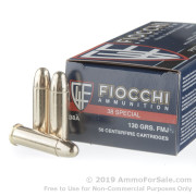 50 Rounds of 130gr FMJ .38 Spl Ammo by Fiocchi