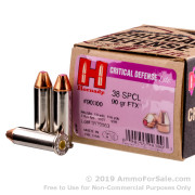 25 Rounds of 90gr FTX .38 Spl Ammo by Hornady Critical Defense Lite